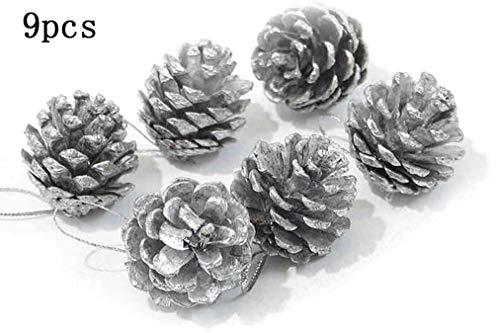 DULALA Conos de Pino Navidad Conos de Pino Plata Creativa Piña Artesanía Adornos navideños 9pcs