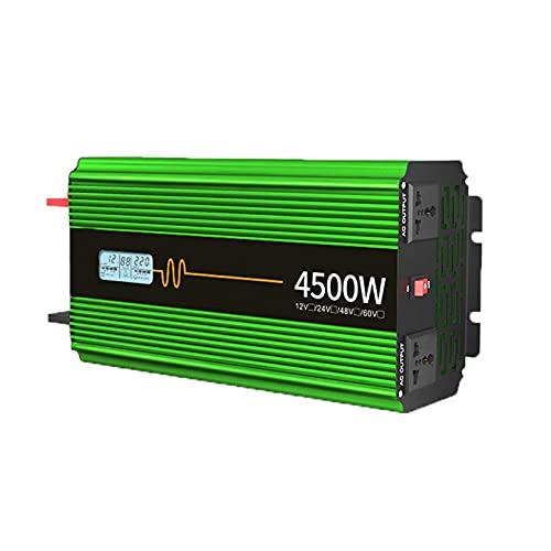 FDQNDXF Inversor de Onda Sinusoidal Pura 3000W / 4500W / 6000W Inversores Solares para Automóvil 12V / 24V a 220V Convertidor de Energía con Salidas de CA Dobles y Espectáculos de LED para Camión RV