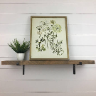 Rustic Floating Shelves with Metal Hanging Brackets //