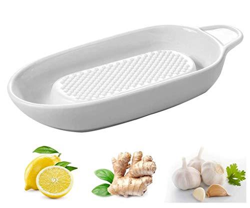 Haudang Rallador de porcelana para jengibre, ajo y cebolla, para cocineros, manzanas, purés, verduras, molinillo.