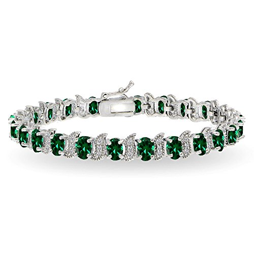 GemStar USA Sterling Silver Simulated Emerald 6x4mm Oval and S Tennis Bracelet with White Topaz Accents