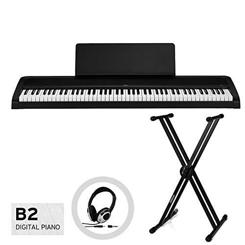KORG コルグ/電子ピアノ B2-BK (ブラック) X型スタンドセット【お手入れクロス、汎用ヘッドホン付き】