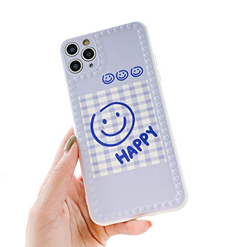 Compatible con Iphone11pro/8plus Funda de teléfono de celosía suave, flexible a prueba de golpes, Cartoon Line Smiley Face Back Cover, pareja, funda azul B-iPhone 7plus