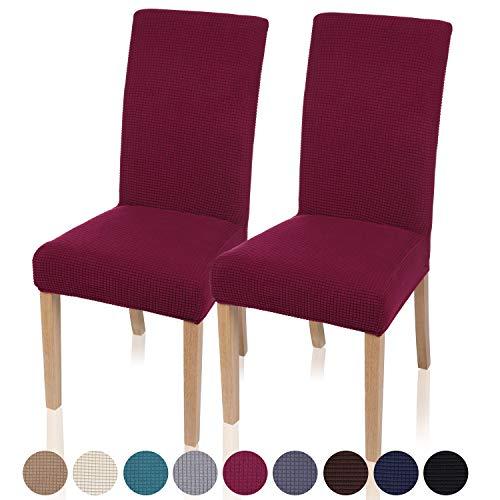 Homaxy Stretch Stuhlhussen Hussen für Stühle Stuhlbezug Waschbar Elastische Moderne Stuhl Esszimmer überzug - Weinrot, 2er Set