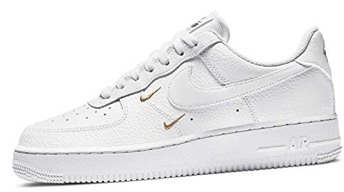 Nike Wmns Air Force 1 '07 ESS, Zapatillas de bsquetbol Mujer, White White Mtlc Gold Black, 42 EU
