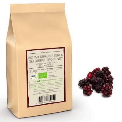 250g BIO Wild-Brombeeren gefriergetrocknet - fruchtige BIO Brombeeren getrocknet, ganze Beeren ohne Zusätze - in biologisch abbaubarer Verpackung