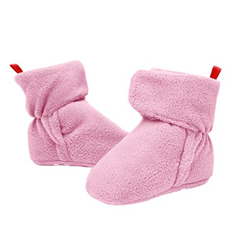 Bufims Baby Fleece Booties Newborn Unisex Booties Non-Slip Newborn Toddler First Walkers Warm Shoes House Slippers for Baby Boys & Baby Girls Toddlers Pink