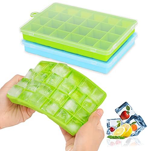 Eiswürfelform Silikon 2er Pack, 24-Fach Eiskugelform Mit Deckel BPA Frei Eiswürfel Form Ice Cube Tray einfach herauszunehmen für Family, Party und Bars für Bier Whisky Cocktails Saft