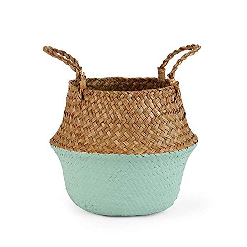 CNMZ Storage Baskets laundry Seagrass Flower Pot Baskets Storage Flower Home Pot panier osier basket for toys,Pale Olive,22cmX20cm