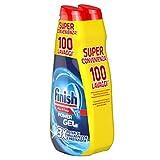 Finish Detergente para lavavajillas, 100 lavados, Powergel, 2 paquetes de 50 lavados