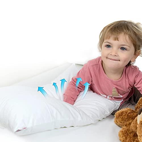 4BABIES - Cuscino Culla, Lettino per Bambino o Asilo, 50x30 cm, Cuscino piccolo Traspirante in Fibra Anallergico con rivestimento in Cotone 100% Italiano, Antiacaro