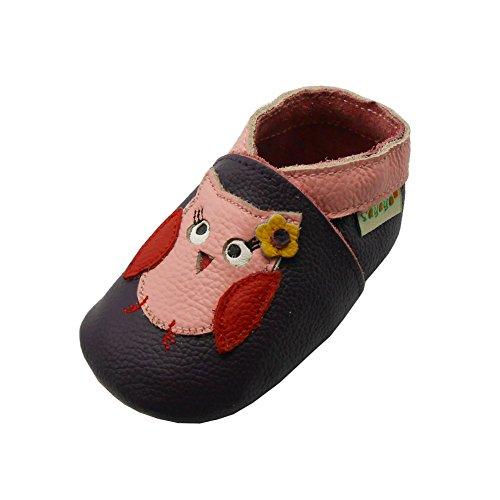 SAYOYO Owls WeichesLeder Lauflernschuhe Krabbelschuhe Babyschuhe 21/22 (12-18) L Monate,Violett
