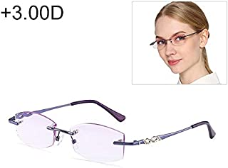 WTYD Clothing and Outdoor Accessories Women Rimless Rhinestone Trimmed Purple Presbyopic Glasses, 3.00D Outdoor Equipment