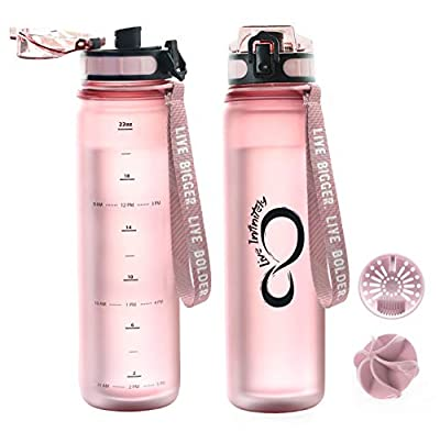 Live Infinitely 24 Oz Insulated Sports Water Bottle (Rose Gold, 24 Oz)