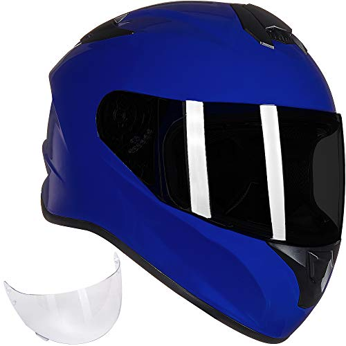 ILM Full Face Motorcycle Street Bike Helmet with Enlarged Air Vents, Free Replacement Visor for Men Women DOT Approved (Blue, Medium)