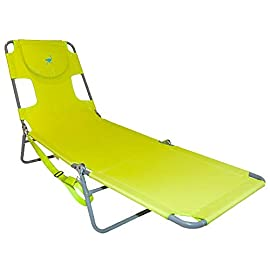 Ostrich Lounge Chaise 5 Patented open/close face cavity and arm slots with head pillow Portable and lightweight; includes carrying strap Weight capacity 250 pounds.Material: Heavy duty polyester and white powdered steel