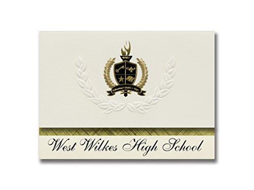Signature Announcements West Wilkes High School (Millers Creek, NC) Abschlussankündigungen, Präsidential-Stil, Grundpaket mit 25 goldfarbenen und schwarzen metallischen Folienversiegelungen