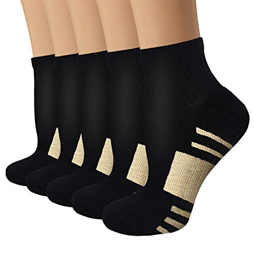 Copper Compression Socks for Men & Women Circulation- Arch Ankle Support for Athletic Running Medical Cycling(L/XL)