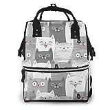 Sac de voyage multifonction pour maman, sac à langer de grande capacité, imperméable et élégant design personnalisé, motif chat mignon, gris et blanc