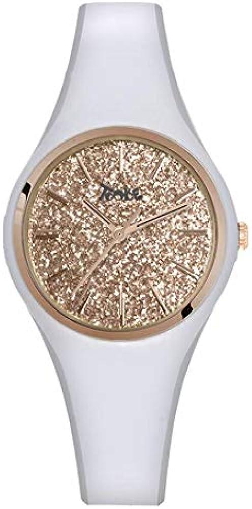 Boccadamo toobe ,orologio per  donna,quadrante in glitter rosato,la cassa È in metallo, cinturino in silicone VG042