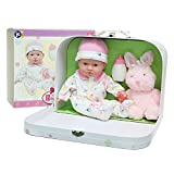 JC Toys - La Baby Travel Case Gift Set| Caucasian 11-inch Small Soft Body Baby Doll | Washable | Cute Outfit, Bottle, Pacifier & Plush Bunny | for Children 12 Months +
