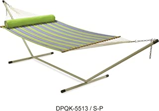 Two Person Quilted Hammock with 15'ft Steel Stand - Parrot Stripe