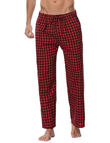 Aibrou Pantalones de Pijama Hombre de Cuadros de Forro Polar de 100% Algodón