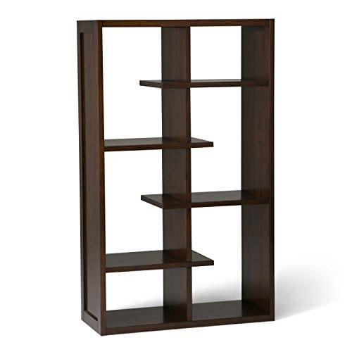 Simpli Home Camden SOLID WOOD 60 inch x 36 inch Industrial Bookcase, Bookshelf in Medium Auburn Brown with 4 Shelves, for the Living Room, Study and Office