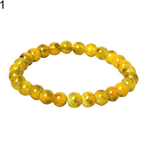 Goodtimes28 Handgefertigtes 8 mm Glas runde Perlen Armband Stretch Armreif Damen Freundschaft Geschenk gelb