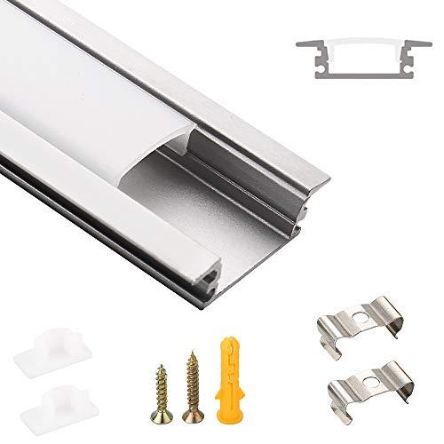 SWAWIS LED aluminium profil, LED-kanal 1 m 6-pack för LED-remsbredd 12,9 mm, LED-profil inkl. med ändlock och fästklämma lämplig för inomhus- och utomhusbruk