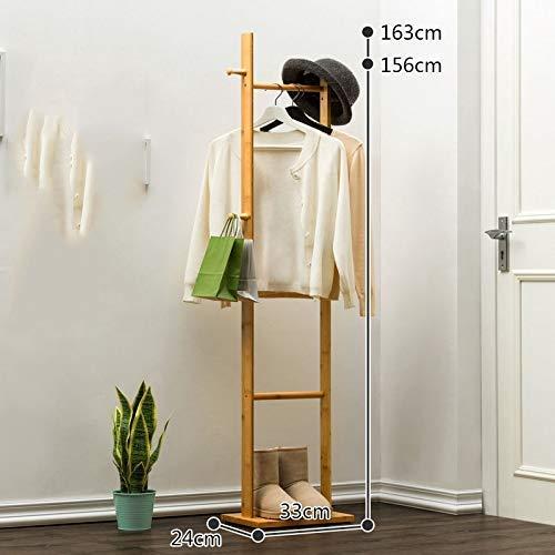Gimitunus kledingrek van hout met haken en planken - vrijstaand, voor de hal, kleerhanger, voor de tas, kleding, accessoires (kleur: B, maat: 2