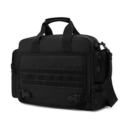 BAIGIO Taktisch Umhängetasche Herren Militär Schultertasche Wasserabweisend Aktentasche Laptoptasche für 15,6 Zoll Laptop für Reise Arbeit Sport (Schwarz)
