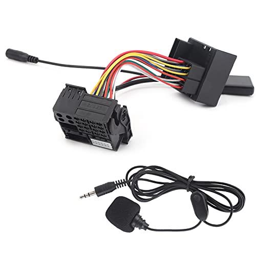 Coche Bluetooth 5.0 Micrófono Adaptador auxiliar de manos libres Arnés de cables Equipo de equipo de audio para radio de coche Apto para la mayoría de modelos de radio