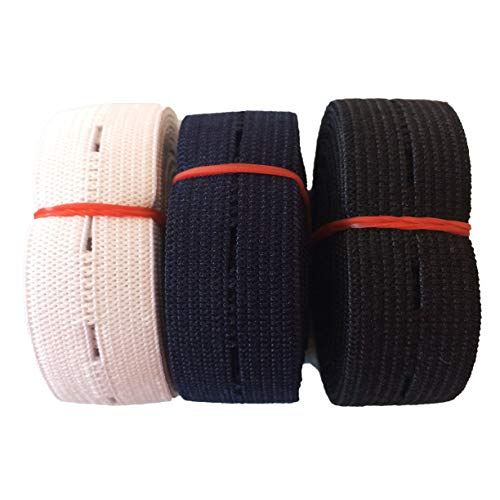 3/4' Inch x 5 Yards Buttonhole Sewing Elastic Bands - Button Hole Flat Elastic Bands Spool Knit for DIY Pants Waist Waistband Adjustable Craft Sewing Garment (6Yards - Navy Blue, Black, White)