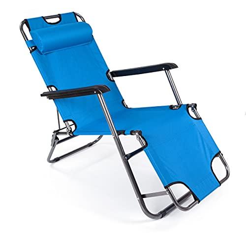 BESTIF Liegestuhl Klappbar Sonnenliege mit Nackenkissen Gartenliege Faltbares Sonnenstuhl (Blau)