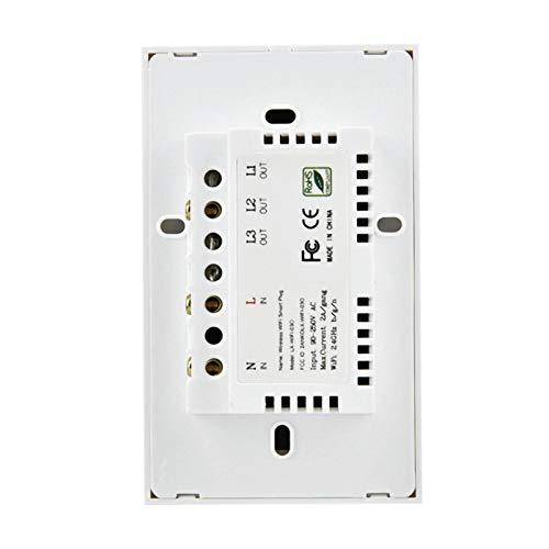 ROMACK y Interruptor táctil a Prueba de Golpes WiFi Touch Switch, para una Vida Inteligente, para Alexa Google Home Voice Control(3 Way, Transl)
