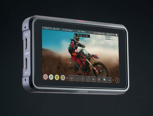 Atomos Ninja V 5 Zoll 4K HDMI Recorder & ATOM4K60C1 HDMI Kabel Micro 30 cm, Cast Connector (60 cm Extended) schwarz