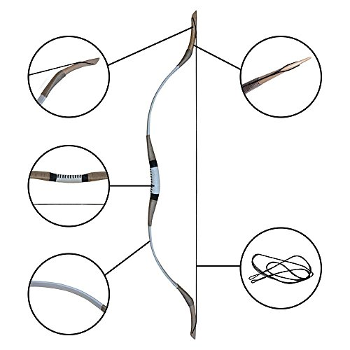 IRQ 54' Archery Recurve Hunting Bow Traditional Wooden Longbows Mongolian One Piece Horse Bow 30-65lbs Right or Left Hand Cow Leather with 6 Pack Feather Fletched Arrows (65)