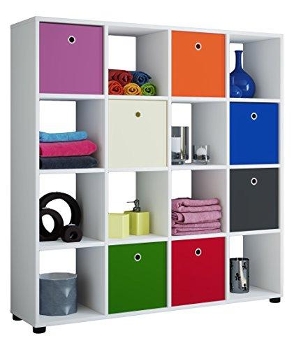 VCM Regal Standregal Säule Bücherregal Aufbewahrung Raumteiler Raumtrenner Sideboard 123 x 120 x 30 Weiß