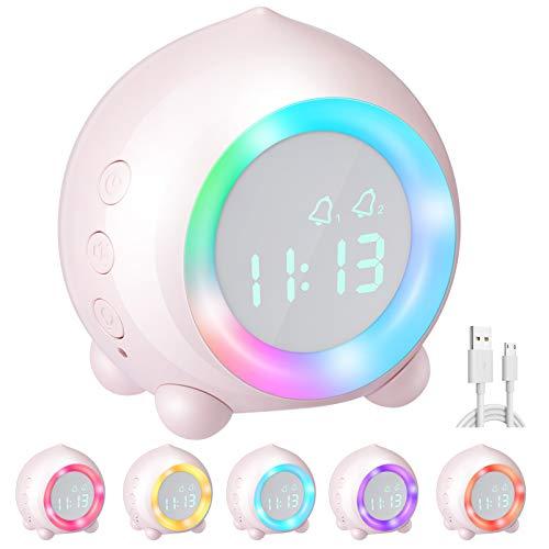 Homealexa Digitaler Kinderwecker, Kinder Digitaler Wecker Sonnenaufgangssimulator Kinderwecker Ohne Ticken für Mädchen Jungen mit Snooze-Funktion, zeitgesteuertes Bunte Nachtlicht (Rosa)