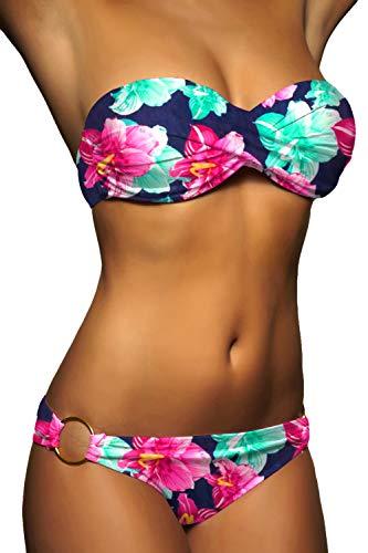 ALZORA Twist Push Up Bandeau Bikini Set Damen Pushup Badeanzug viele Farben und Größen (M, Rot - Weiss kariert)