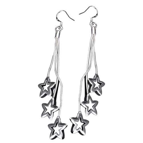 Frau Mädchen Stern-Anhänger Ohrringe Lange Haken Ohrringe Penta Plated 925 Silber Ohrstecker