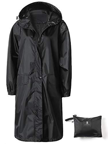 Veste de Pluie Imperméable Longue pour Femme Encapuchonné Coupe-Vent Léger Noir XL