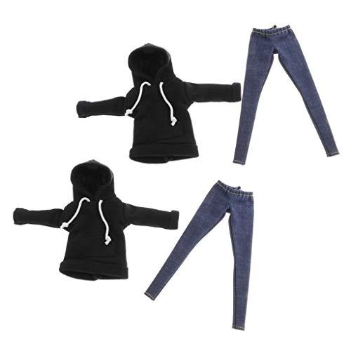 sharprepublic 2 Paquetes de Sudadera con Capucha de Disfraz BJD con Pantalones Vaqueros para Accesorios de Vestir de 1/6