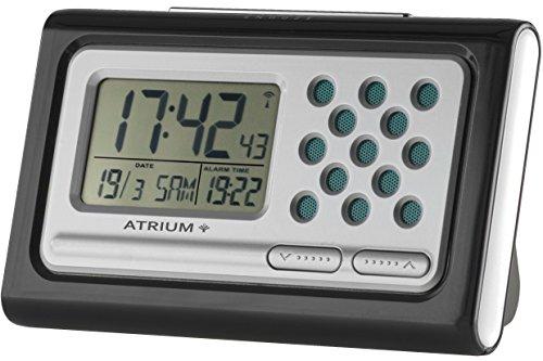 ATRIUM sprechender Funkwecker digital Seniorenwecker schwarz mit Snooze und Lautstärkeregelung A310-7