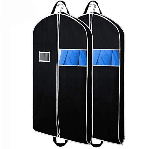 KEEGH Reise Kleidersäcke für Anzüge, 2pcs atmungsaktive 110x60cm Schutzhülle für Anzüge mit 10cm Zwickel,Mantelschutz mit durchsichtigem Fenster und ID-Kartenhalter