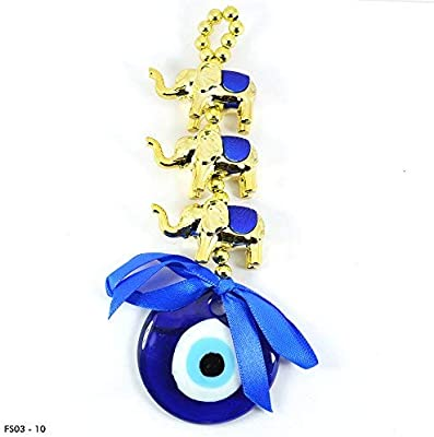 Reiki Crystal Products Evil Eye Three Horse Car & Door/Office Hanging for Good Luck and Prosperity