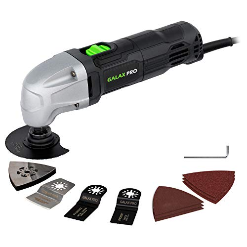 Oscillating Tool, 1.5A Oscillating Multi Tool Oscillating Angle:3° GALAX PRO 22000 OPM Multi-Tool with 3x Saw Blades, 1pcs Semi Circle Blade Sanding Plate, 6pcs Sanding Papers for Sanding, Grinding