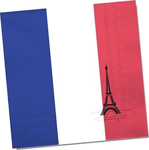 20 Papierservietten im * FRANKREICH * für Party & Geburtstag von DH-Konzept // Servietten Napkins Feier Set Mottoparty Rot Weiß Blau Eifelturm France French