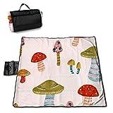 LUCKCHN Manta de picnic con estampado de setas, grande para exteriores, plegable, impermeable, práctica bolsa de 144,8 x 149,9 cm